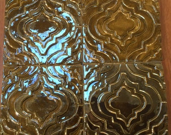 4 Metallic Accent Tile  for fireplace, kitchen or bath.  Modern brass glaze 1 square foot