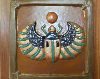 Egyptian Scarab tile 6 inch, Victorian or Art Deco tile for fireplace or kitchen. brown,blue, turquoise &copper
