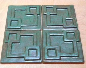 "4"" Prairie Tile 3D Geometric tiles  1 square foot, jade haze glaze. Kitchen, fireplace or bath"