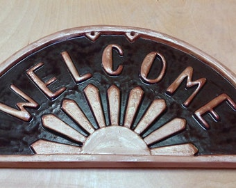 Art Deco Welcome Sign, Christmas Gift. Sunburst tile, home decor, dark brown and copper