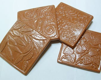 """Set of 4 tile for kitchen back-splash, blush glaze 4.25"""" Tile Close out Sale"""