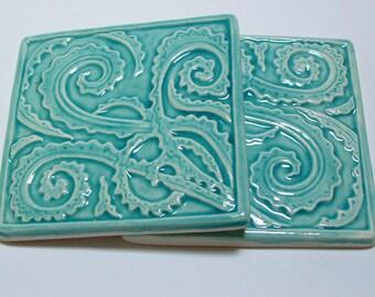 "Fern tile, 4.25"" sea green/turquoise tile for kitchen back-splash, set of 2"