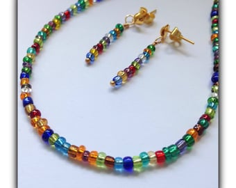 Multicoloured Boho Dainty Necklace & Earrings Gift Boxed Teens Birthday Womens Gift