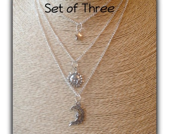 Set of Three Layered Sun Moon & Stars Boho Necklaces Gift Boxed Birthday Anniversary Girlfriend Teens