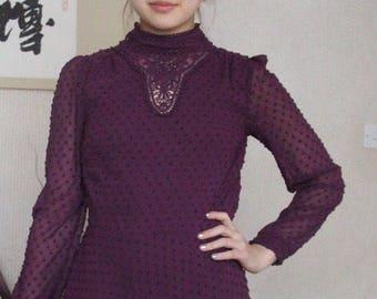 Boho Edwardian Victorian style dress 80s purple vintage bohemian classy elegant chic