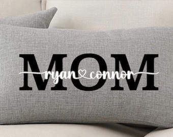 Mom Pillow Personalized, Mothers Day Gift, Mom Gift from Kids, Customized Pillow, Family Name Pillow, Personalized Decor, Custom Home Decor,