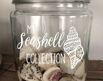 Seashell Collection Holder, Seashell Keepsake, Beach Treasures, Beach Jar, Glass Jar for Shells, Seashell Jar, Seashell Decor, Beach Decor