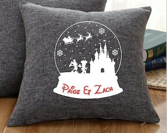 Disney Snowglobe Pillow, Disney Christmas Pillow, Disney Pillow, Disney Gift, Disney Christmas Gift, Disney Decor, Holiday Pillow, Winter