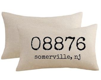 Zipcode Pillow, Zipcode Decor, Location Pillow, State Pillow, Zipcode Gifts, Newlywed, Housewarming Gifts, Wedding Gifts, Farmhouse Decor