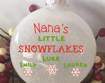 Little Snowflakes Personalized Grandkids Glitter Ornament, Christmas Glitter Ornament, Grandkids Custom Ornament, Custom Gift for Grandma