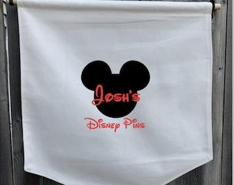 Personalized Disney Pin Hanger, Pin Holder, Disney Pin Banner, Mickey Minnie Pin Holder, Pin Storage, Pin Display, Collectible Display