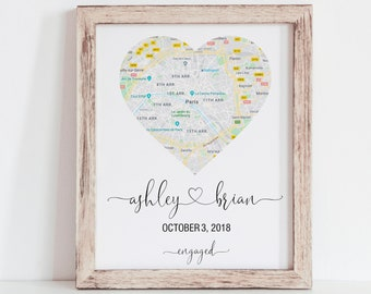 ea8b004877 Engagement Gift, Gift for Couple, Map Print, Engagement Print, Engagement  Gift for Couple, Gift for Future Mrs, Bride to Be