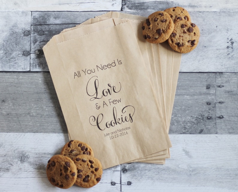 Wedding Cookie Bags All You Need is Love and Cookies Cookie | Etsy