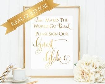 Wedding Globe Sign, Love Makes the World Go Round, Wedding Globe, Wedding Guest Book, Guest Book Globe,  Wedding Signage,