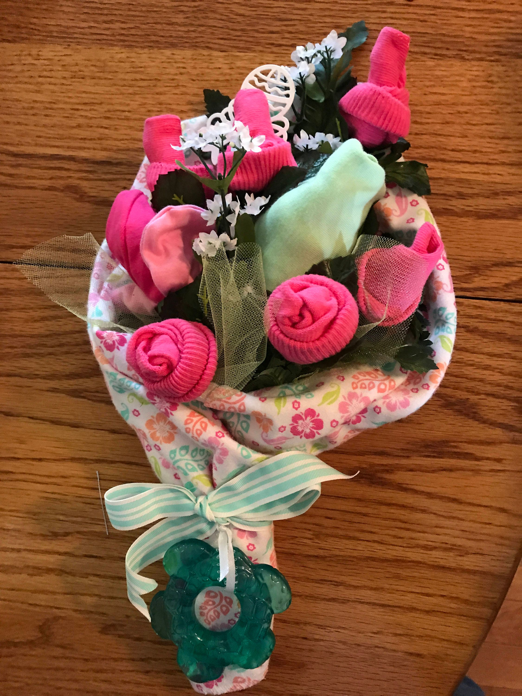 Baby Sock Rose Bouquet Handmade Infant Sock Baby Shower Arrangement