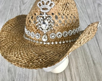 4a12f49805304 Items similar to Bling cowgirl hat-country bride hat-straw hat ...