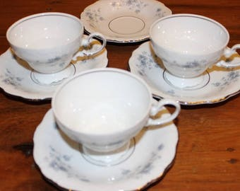 Vintage Johann Haviland Blue Garland Bavaria Cups and Saucers Set of 7 Pieces