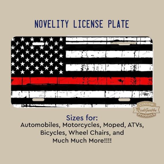 A thin Blue Line Distressed Flag Custom License Plate for Auto Car Bike ATV Gift