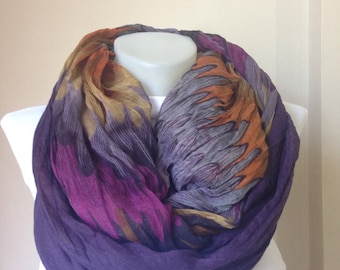 Christmas Gift, Scarf- Extra long scarf-Scarf in Purple,Orange,Authentic Design, ,Women Scarf,