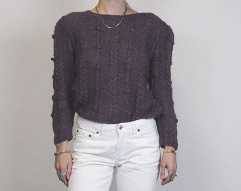 aaae4aaf92224e vintage 80's popcorn knit sweater ~ Chunky knit cropped puff sleeve