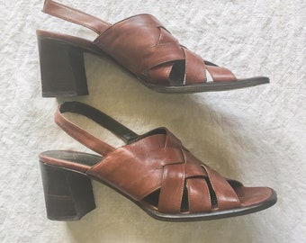 3d0eeac909a6 vintage 90 s brown leather slingback block heel sandals    square toe     minimalist grunge    size 8    Made In Italy