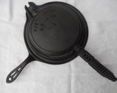 Best Made 8 Cast Iron Waffle Iron - Coil Handles - Short Base - made by Griswold for Sears Roebuck and Company - circa 1920s