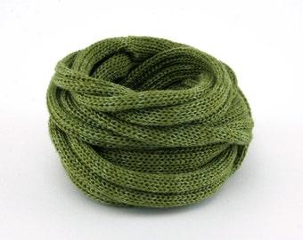 collier textile Perle de Lin - olive