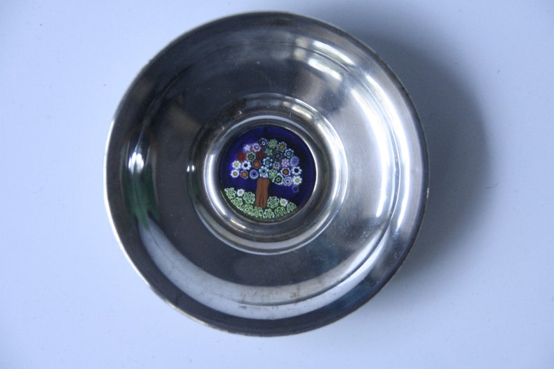 Silver with vintage murrina Piccolo rings 70s80s silver saucer ring holder
