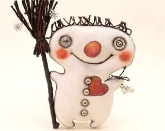 Little cheerful snowman for New Year and Christmas