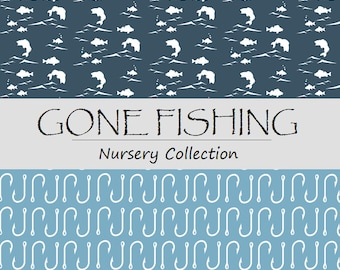 GONE FISHING Nursery Collection - Fishing Crib bedding - Fishing Baby Bedding - Fishing Crib sheets  - Fishing Nursery -Fish Hook Crib Set