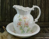 Pitcher Ewer and Wash Basin Handpainted Pink Morning Glory Flowers Leaves with Pale Green Trim