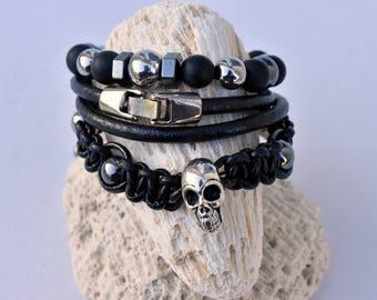 set of 3 skull hematite silver leather Biker bracelet