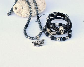 Silver @kreapat bikers skull hematite bracelets and necklace