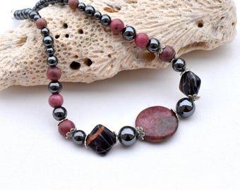 rhodonite necklace hematite-high quality