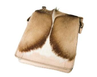 c395d6ddc5 Real Leather Messenger Shoulder Man Bag with Springbok Fur  (1112-SCB-MD-G04) L26