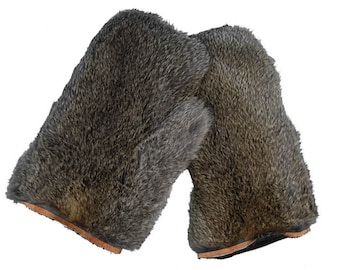4fccc0a3ddc Pair of Rabbit Fur Massage Mitts  Bunny Brown (696-9BB) O3