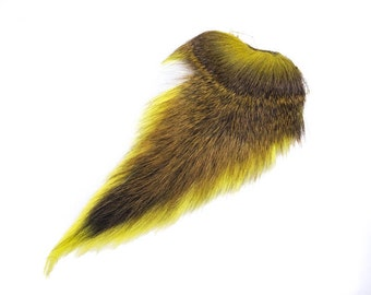 1 (one) dyed Deer Tail: Fluorescent Yellow (148-502) L10
