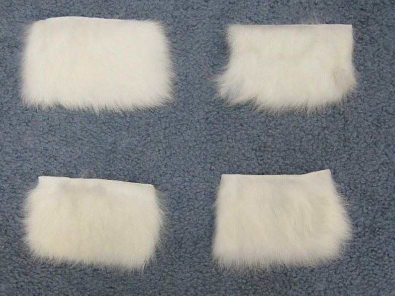 1 lot of 25 white rabbit skin craft pieces 1259-1L-0510-WH L19 2 by 4
