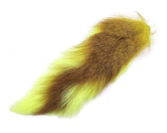 1 (one) dyed Deer Tail : Lemon Yellow (148-287) L10