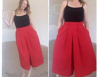 Vintage Cherry red Culottes, Deadstock, size 10 - 12, medium