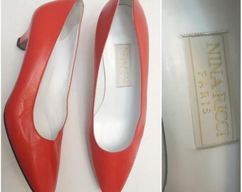 a38a450c6 Vintage NINA RICCI pumps, Vintage Red Pumps, Size 6 red pumps