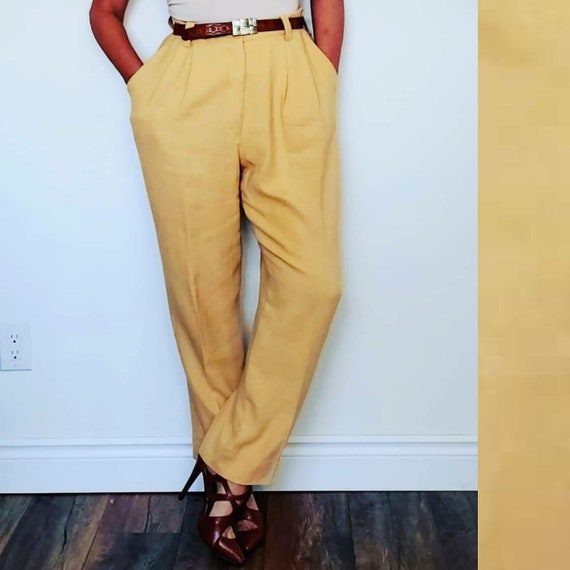 Vintage Linen High Waisted Pleated trousers, Sonia