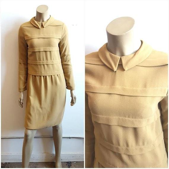 Vintage 1960's Mustard Mod Dress, Peter pan Collar