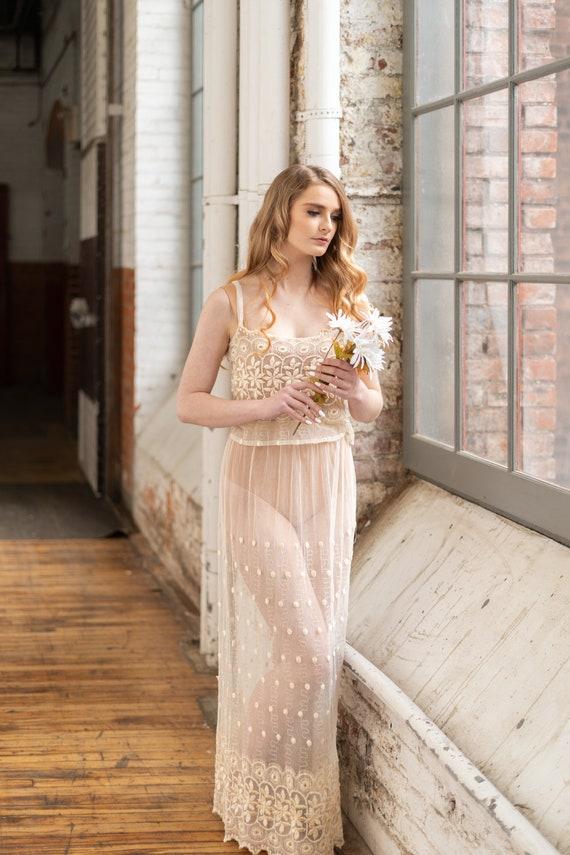 Vintage 2 Piece Lace Bridal Set, Bridal lingerie'… - image 2