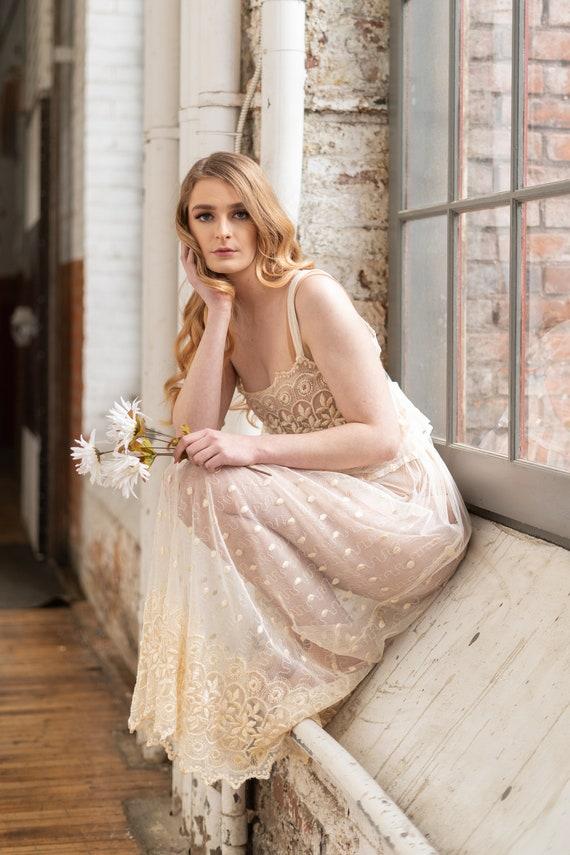 Vintage 2 Piece Lace Bridal Set, Bridal lingerie'… - image 4