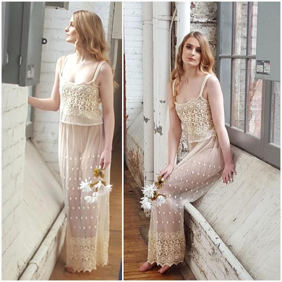 Vintage 2 Piece Lace Bridal Set, Bridal lingerie'… - image 5