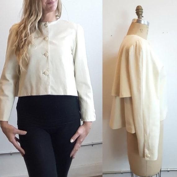Vintage cream Wool Cropped Swing Jacket, Swing Bla