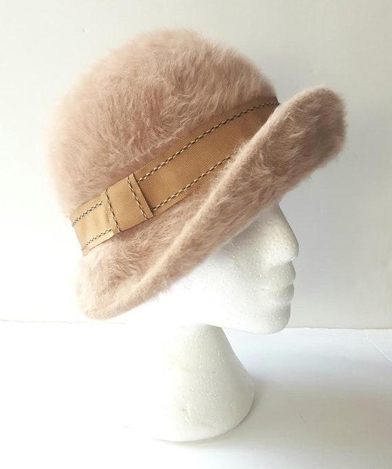 Vintage Beige Angora Fedora Hat, Women Fedora, Kan