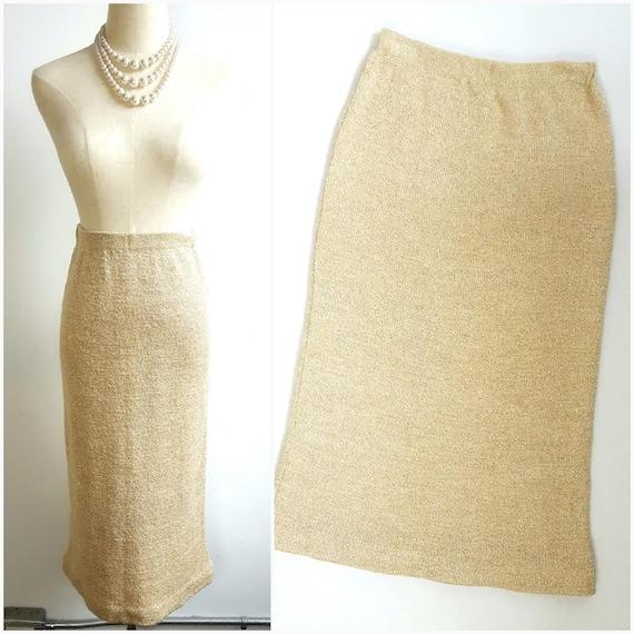 Vintage Gold Metallic wool Pencil Skirt Size S/M