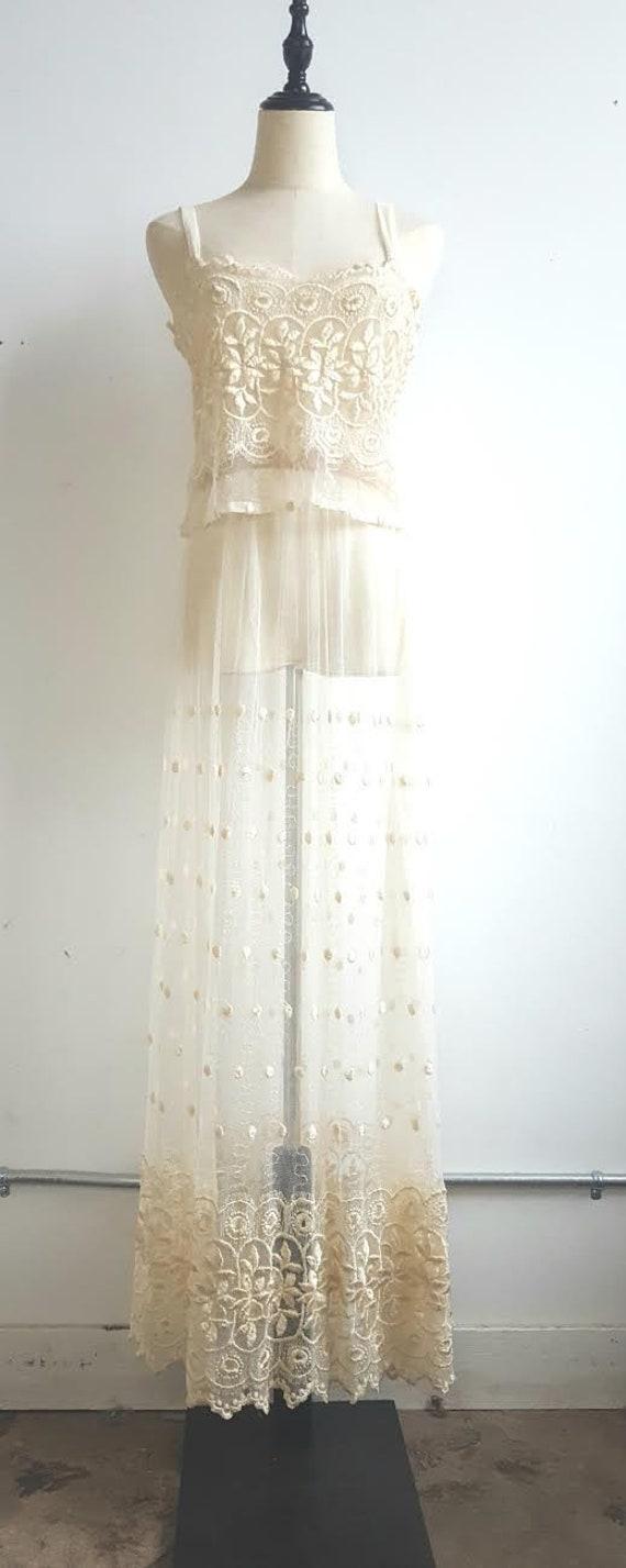 Vintage 2 Piece Lace Bridal Set, Bridal lingerie'… - image 6